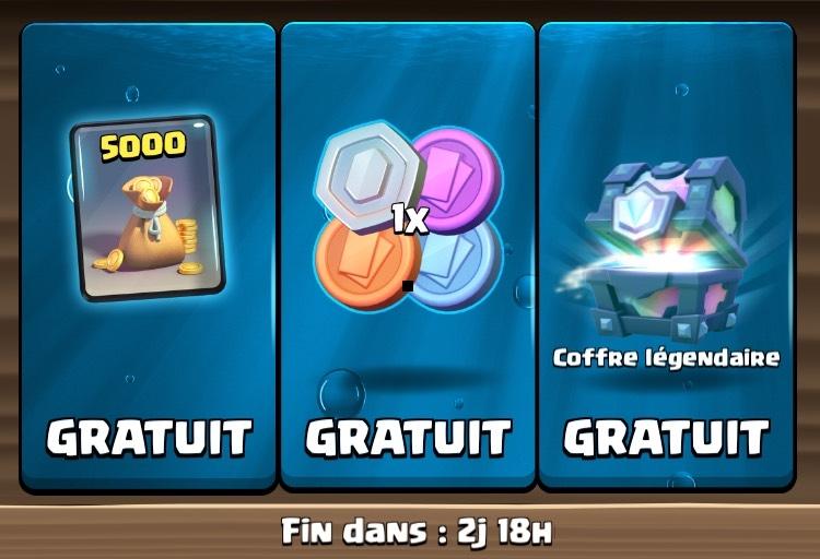 Items offerts sur Clash Royale - coffre légendaire + 4 jetons + 5000 Or (dématérialisés)