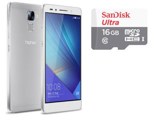 "Smartphone 5.2"" Honor 7 silver + Micro SDHC Ultra UHS-1 16 Go (via ODR 50€)"