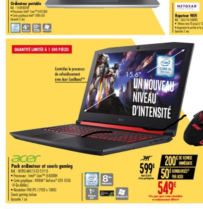 """PC portable 15.6"""" full HD Acer Nitro AN515-52-51Y (i5-8300H, GTX-1050 (4 Go), 8 Go de RAM, 1 To, Windows 10) + souris (via ODR de 50€)"""
