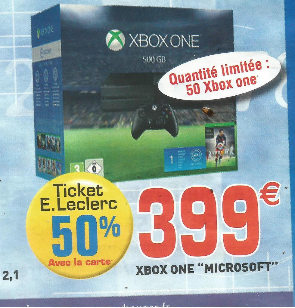 Pack console Xbox One 500 Go + Fifa 16 (avec 50% sur la carte)
