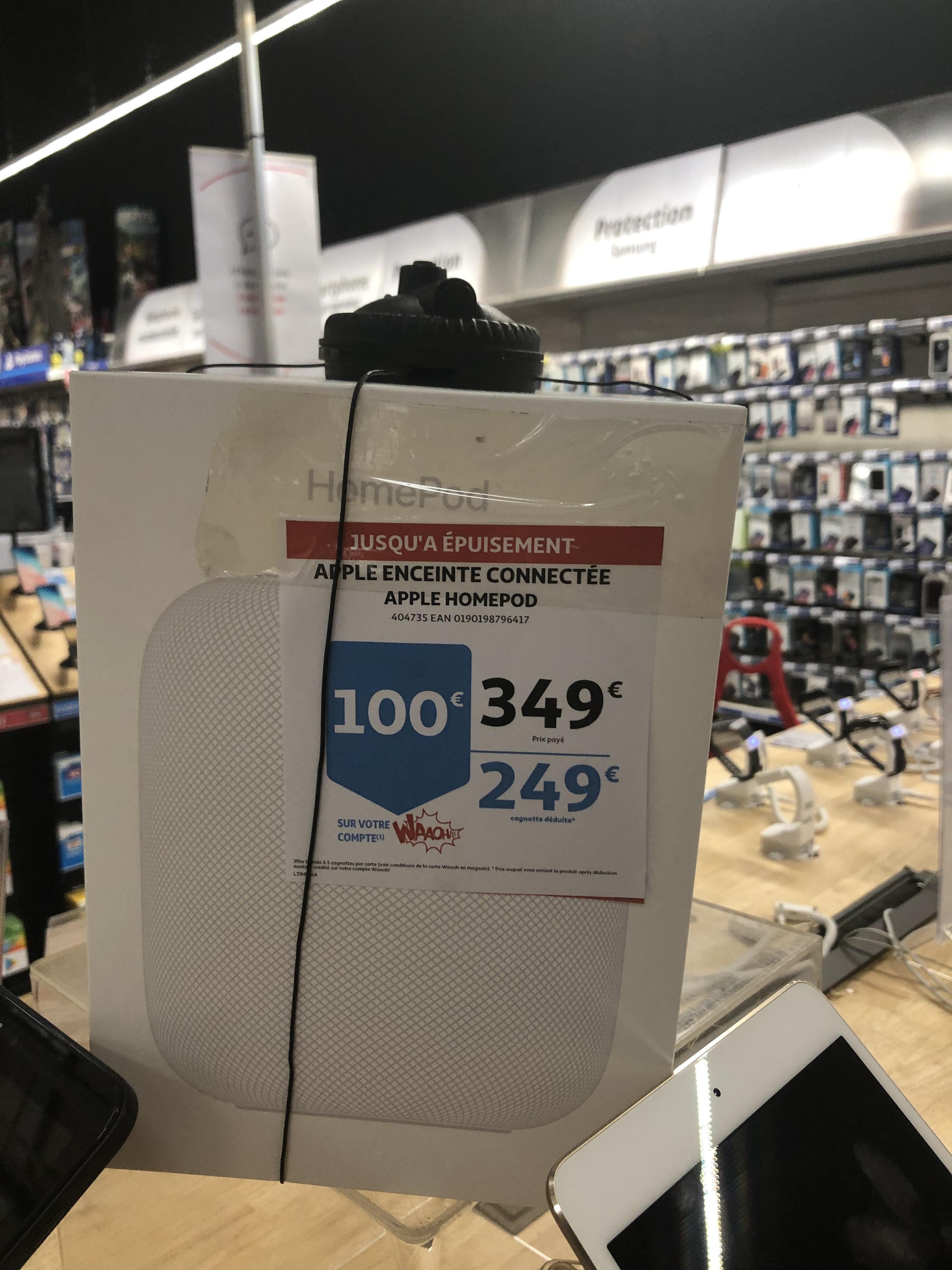 Enceinte connectée Apple HomePod (Via 100€ sur la carte) - Auchan Béthune (62)