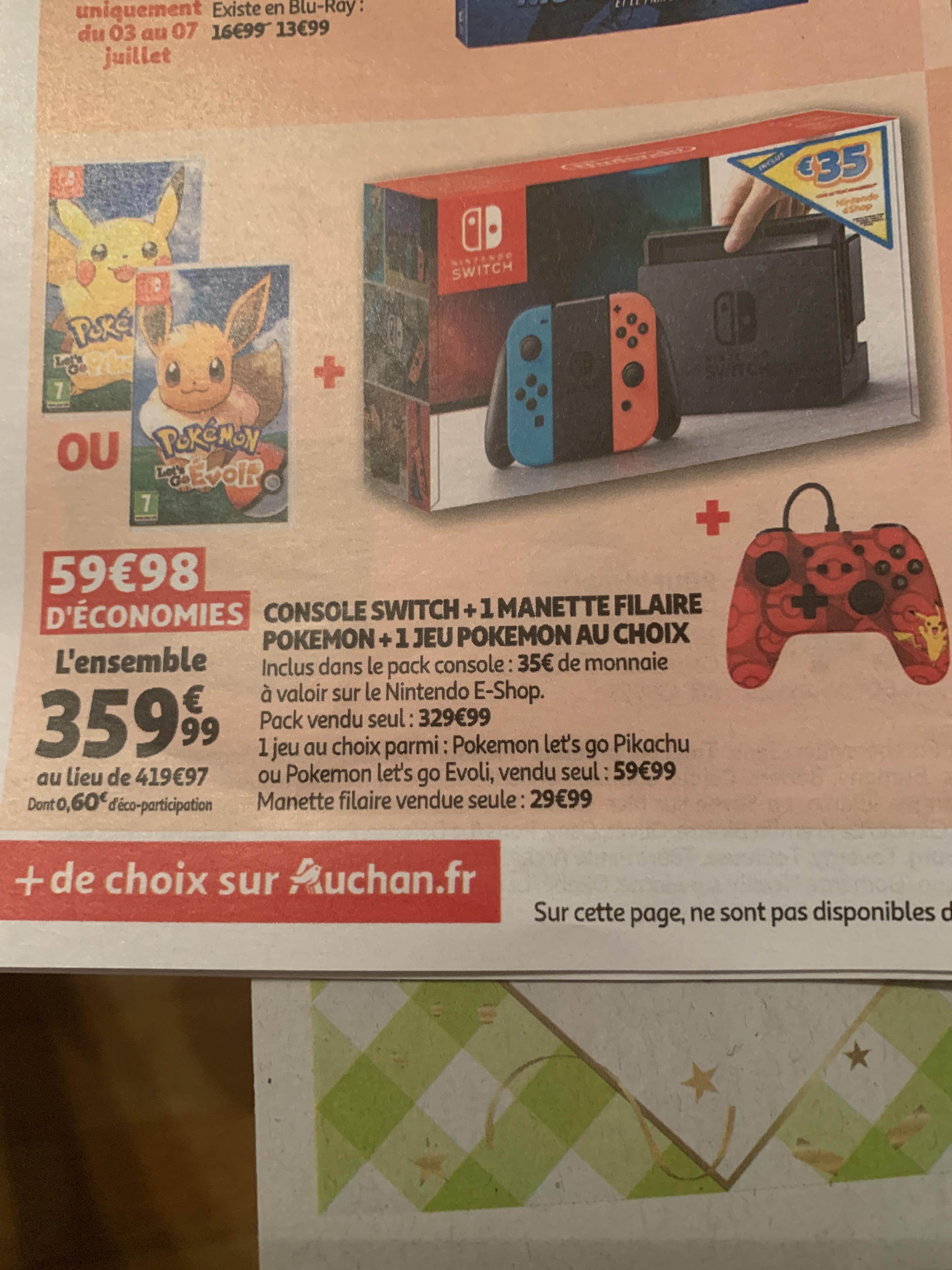 Pack Console Nintendo switch + 1 jeu Pokémon Let's Go + 1 manette filaire Pokemon + 35€ pour le store Nintendo Shop