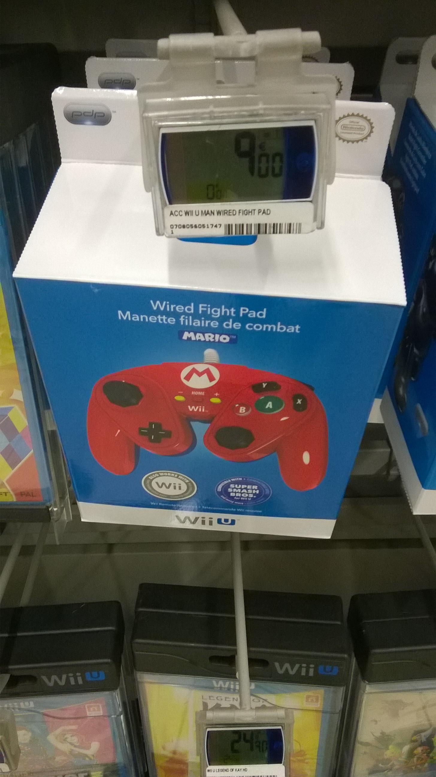 Manette filaire Mario pour Wii U - Rouge