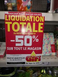 70% de réduction sur tout le magasin - Saint-Jean-d'Illac (33) / Niort (79)