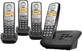 Téléphone Gigaset Quattro 4 Combinés Al230A Noir avec répondeur
