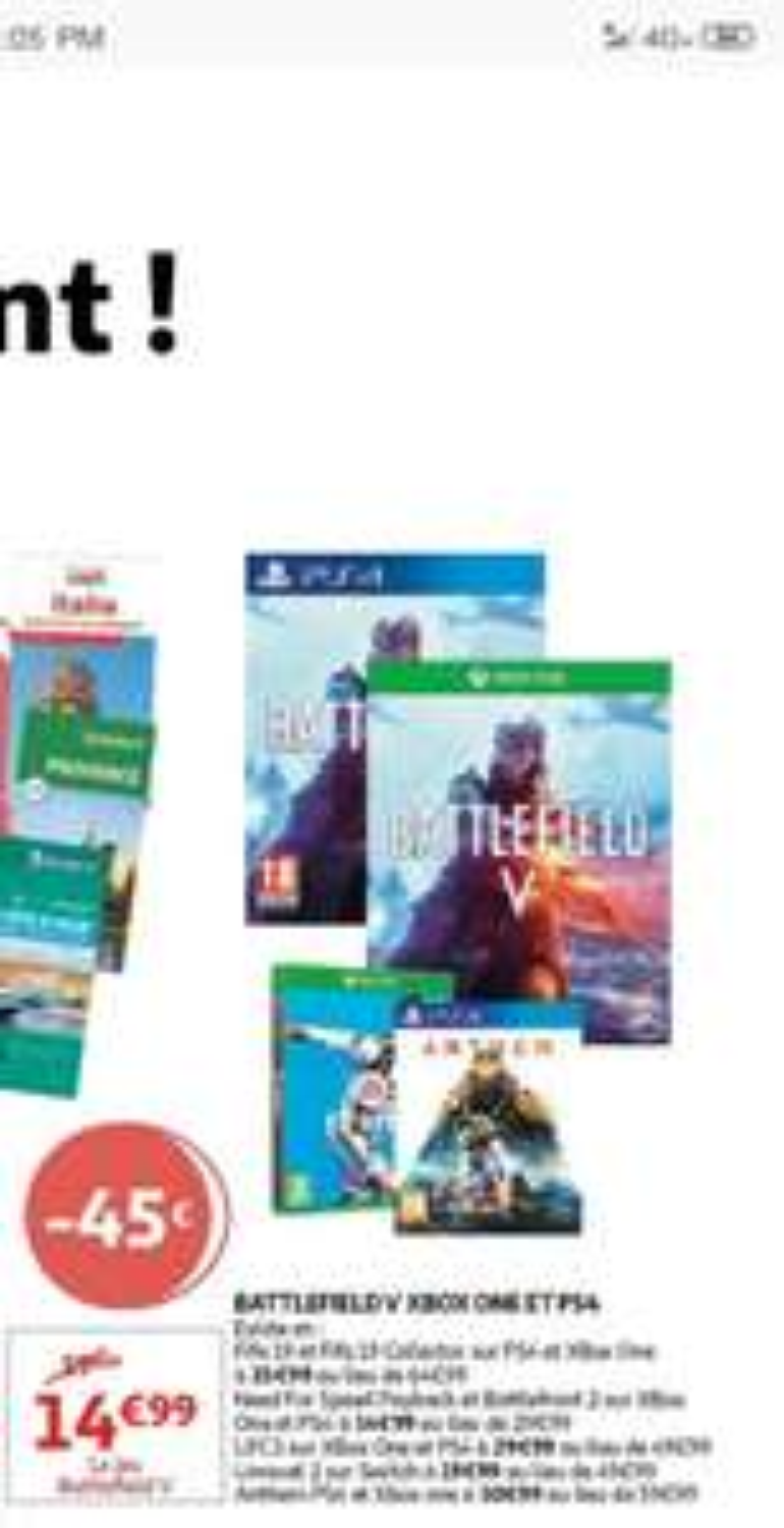 Jeu Battlefield V sur PS4 et Xbox One (Frontaliers Luxembourg)