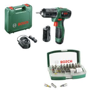 Perceuse-visseuse sans fil 12 V Bosch EasyDrill 1200 + Batterie et set d'embouts de vissage 32 pièces