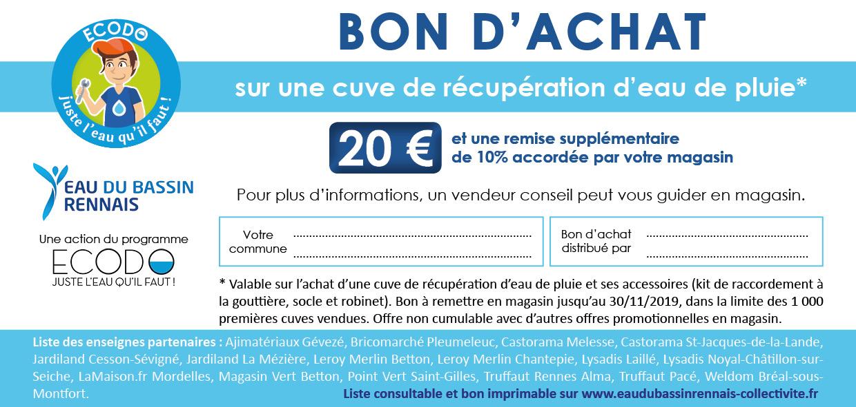 Bon d'achat de 20€ à dépenser pour l'achat d'une cuve de récupération de pluie (dans une sélection de magasins) - Rennes (35)
