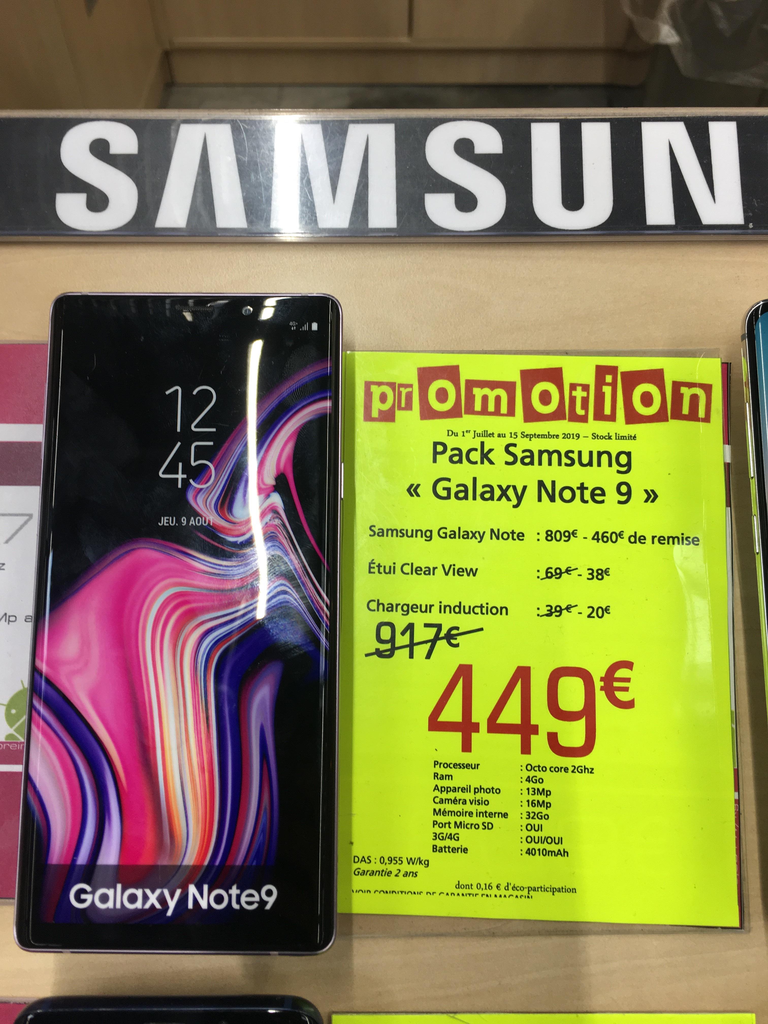 Smartphone Samsung Galaxy Note 9 128go + étui  Clear View + chargeur induction (EP-P1100) - Leclerc Langon (33)