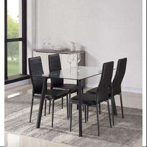 Ensemble table à manger + 4 chaises Solis en similicuir noir 120x70cm