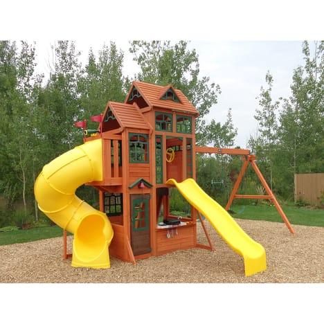 Aire de jeux pour enfant KidCraft Canyon Ridge - en bois de cèdre, 5.5x3.4x3.35 m