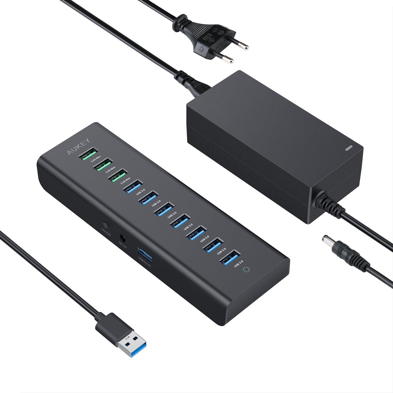 Hub USB Aukey 7 ports + 3 ports alimentation 2,4A (vendeur tiers)