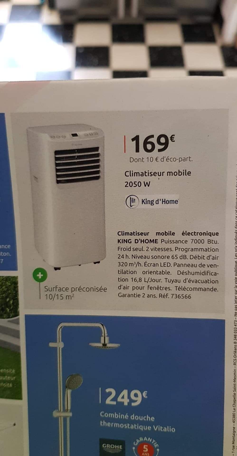 Climatiseur mobile King d'Home - 7000 Btu, 2050 W