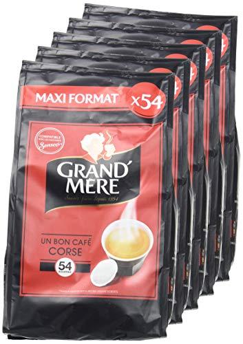 Lot de 5 paquets de 54 dosettes de café corsé Grand mère - 270 dosettes compatible Senseo