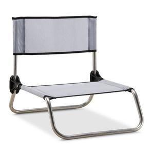 Chaise camping-plage Eredu 833/Tx - Aluminium et PVC Tissé, Gris