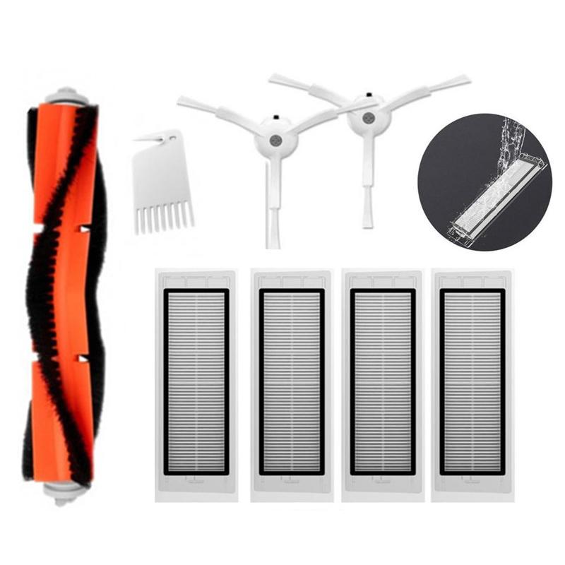 Lot de 8 Accessoires pour Aspirateurs Robot Xiaomi V1 & V2 - 4 Filtres + 1 Brosse Principale + 2 Brosses Latérales + 1 Outil de nettoyage