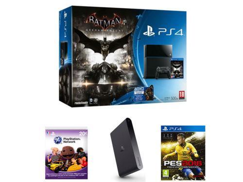 Pack Console Sony PlayStation PS4 (500 Go) + Batman Arkham Knight + PES 2016 + PS TV + Livecard PSN 20€ + Coupon de téléchargement de 3 jeux