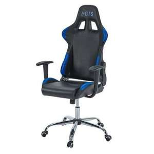 Chaise Gamer Baquet Race - Simili Cuir et PVC, Noir et bleu