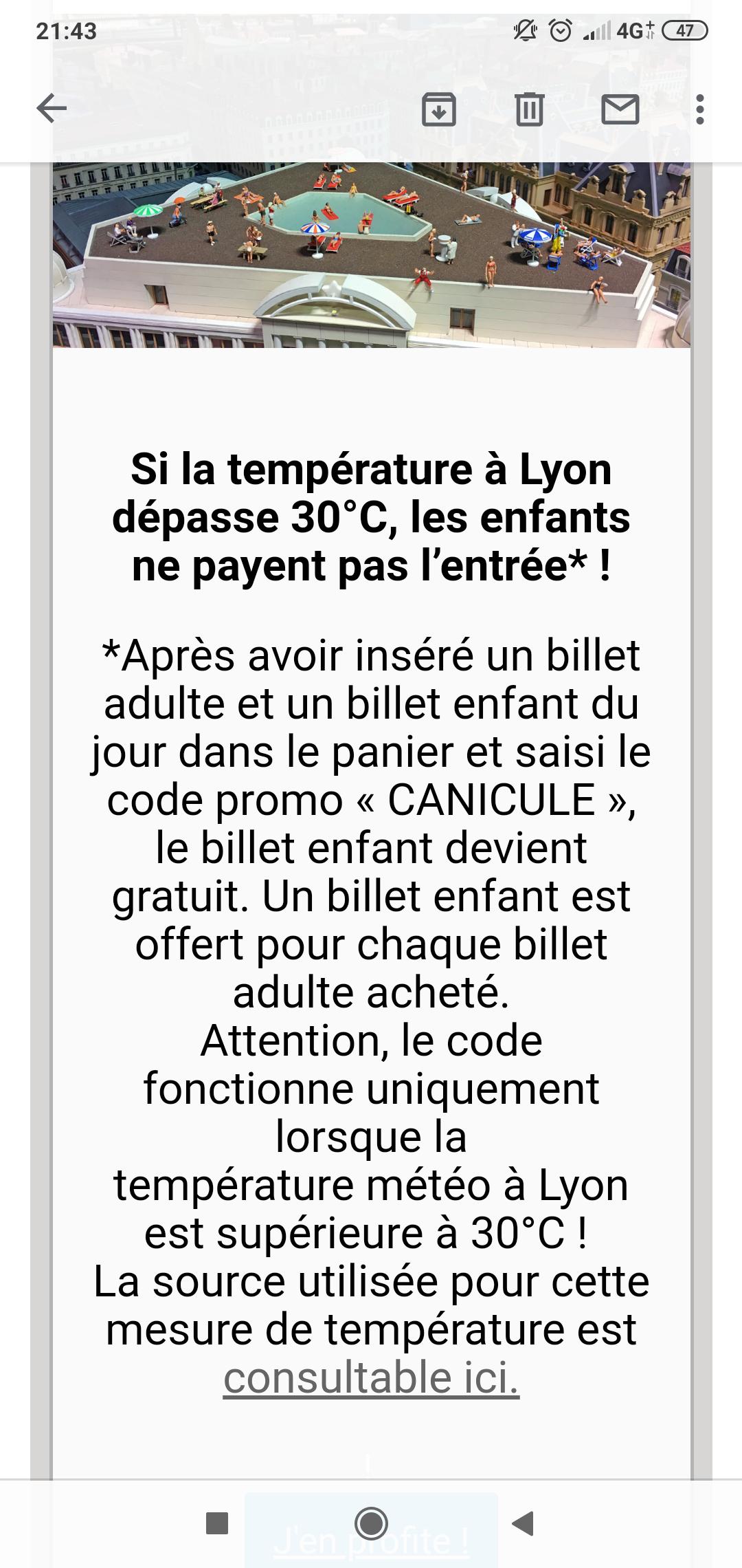 1 Entrée adulte au mini world achetée = 1 entrée offerte les jours où la température est supérieure à 30°c - Lyon (69)