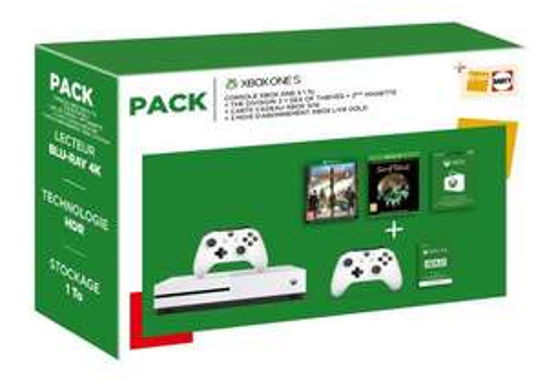 Console Xbox One S 1 To Blanc + 2ème manette + The Division 2 + Sea Of Thieves + Carte Xbox 50€ + 3 mois Gold (+ 44.99€ en chèque adhérents)
