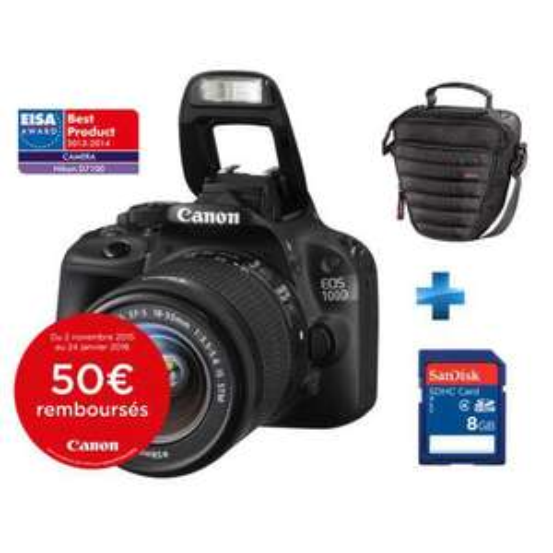 Appareil photo Reflex Canon Eos 100D + Objectif 18-55mm IS STM + Carte mémoire SDHC Sandisk 8 Go + Sacoche (ODR de 50€)