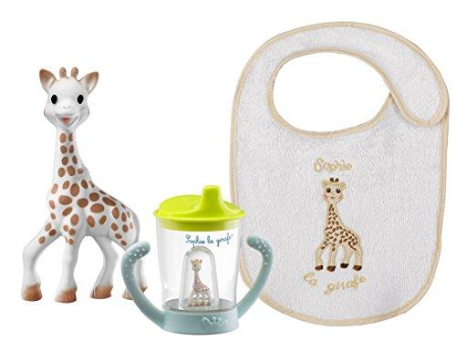 Ensemble Tasse + Bavoir pour bébé + Jouet Sophie la girafe