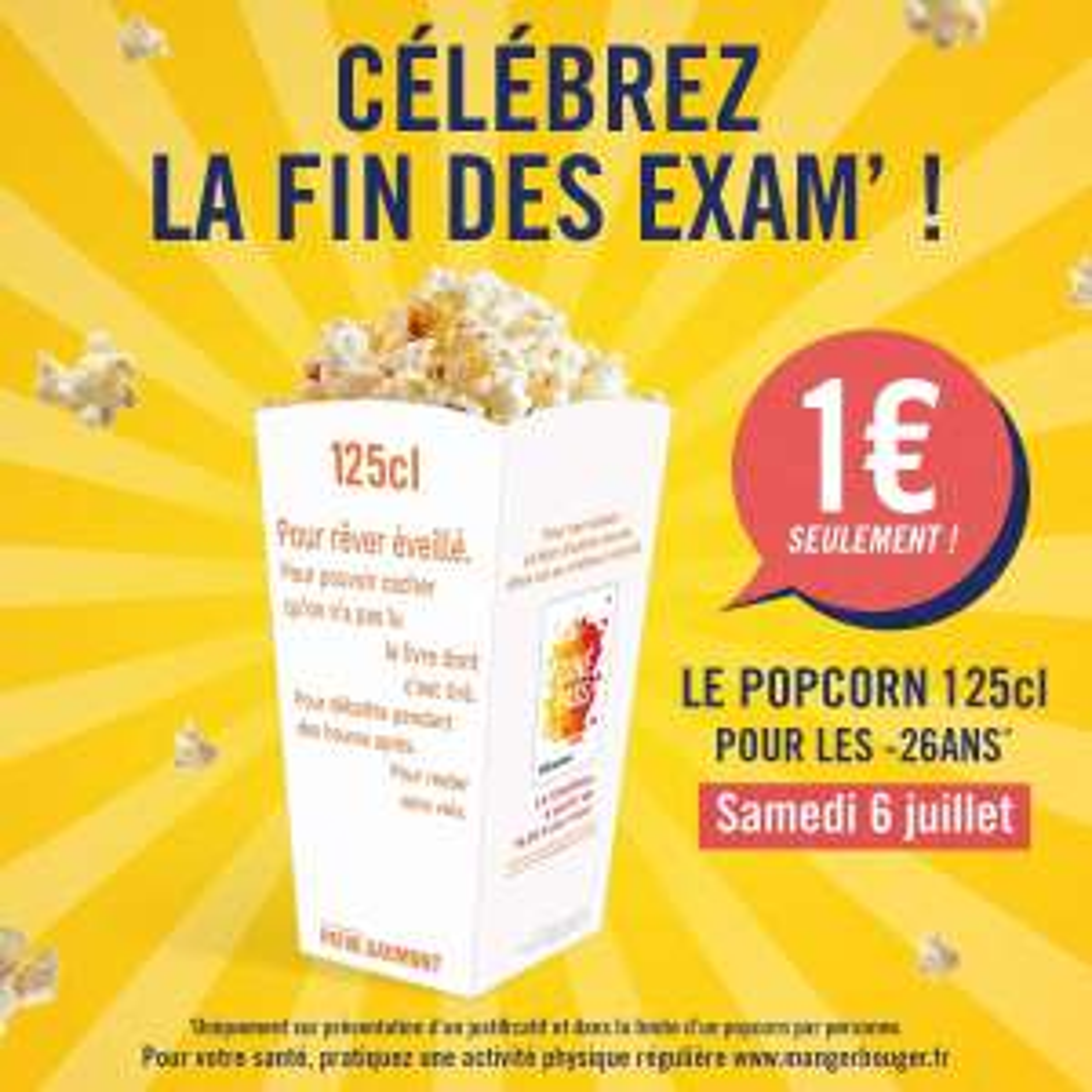 [Jeunes -26 ans] Le Popcorn - 125cl à 1€
