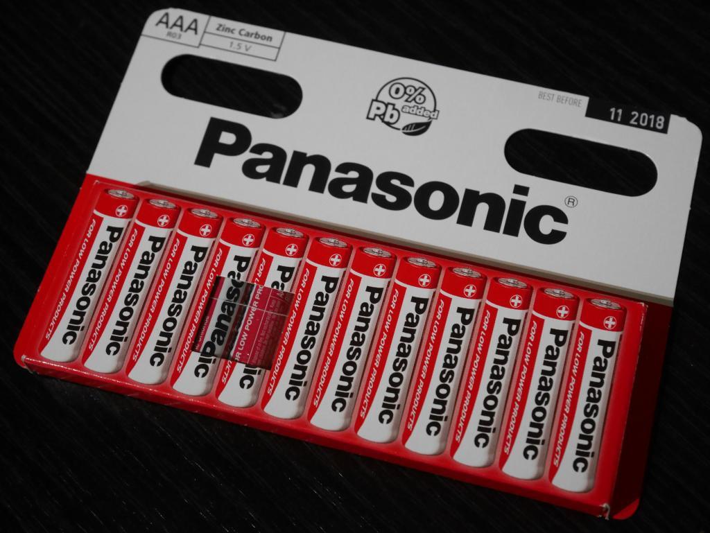 12 piles salines Panasonic AAA (R03) 1.5V