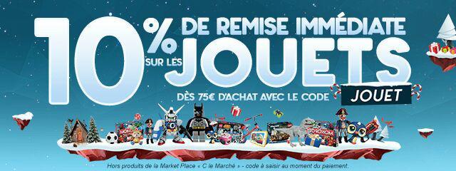 10%  de réduction dès 79€ d'achat dans le rayon jouets