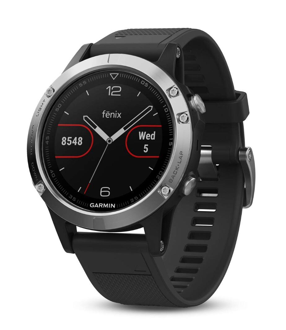 Montre connectée GPS Garmin Fenix 5 Silver cardio Multisports - Noire