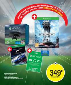 Pack console Xbox One 500 Go + Fifa 16 + Star Wars Battlefront + Forza 6 + 3 mois Xbox Live