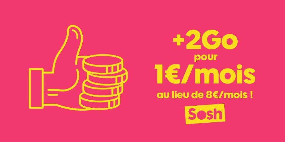 [Clients Sosh ou nouveaux clients] Forfaits 19,99€ et 24,99€ : Option 2 Go de data mensuel
