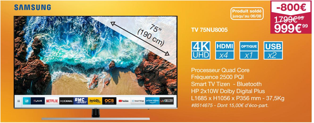"[Carte Costco] TV LCD 75"" Samsung 75NU8005 - UHD 4K, Smart TV"
