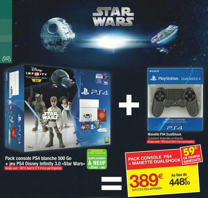 Console PS4 500 Go blanche + jeu Disney infinity 3.0 Star Wars + 2eme manette dualshock