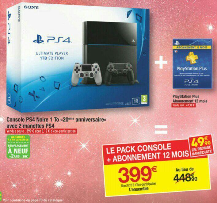 """Console PS4 noire 1To """"20th anniversaire"""" avec 2 manettes + 1 an d'abonnement au PS+"""