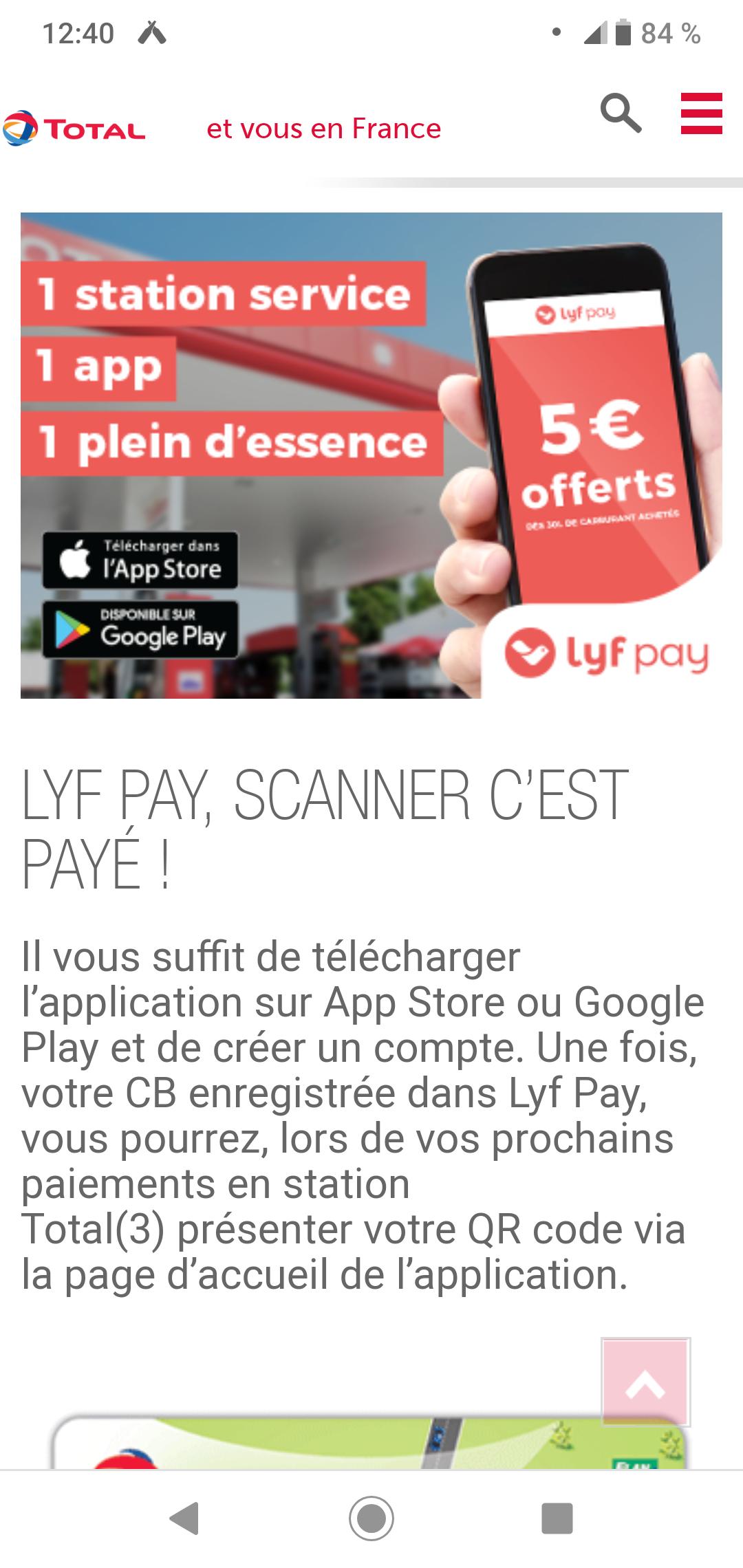 5€ remboursés sur votre compte dès 30L de carburant payé chez Total (via Lyf Pay)