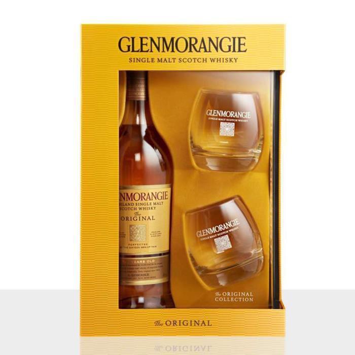 Coffret Whisky Glenmorangie 10 ans d'âge 70 cL + 2 verres