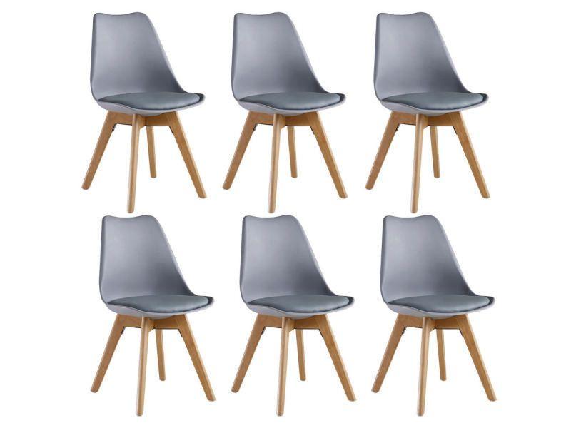 Lot de 6 chaises scandinaves grises Lorenzo - assise rembourrée (vendeur tiers)
