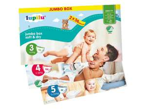 Pack de couches Lupilu Jumbo Box Taille 3, 4 ou 5 (112, 100 ou 88 couches)