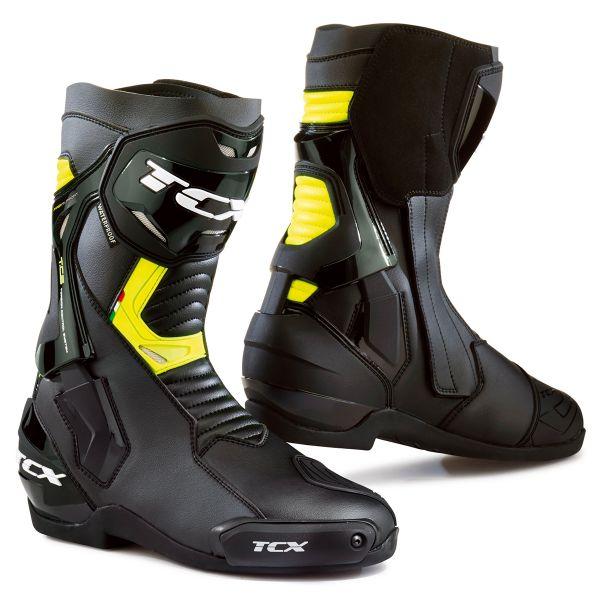 Bottes de moto TCX ST-Fighter - Waterproof, homologuées, Noir / Jaune fluo (taille 39 à 45)