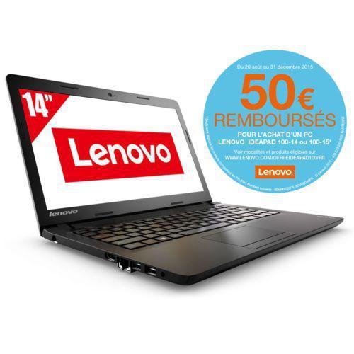 """PC portable 14"""" Lenovo Ideapad 100-14 - Celeron N2840, 2 Go RAM, 250 Go (avec ODR 50€)"""
