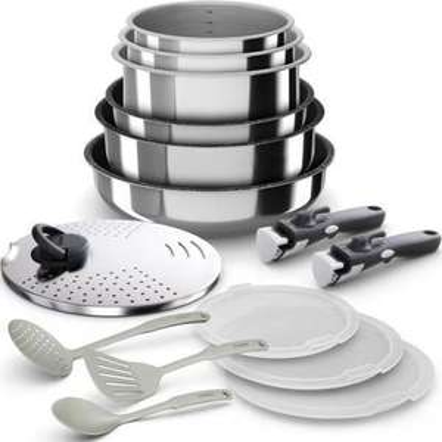 Batterie de cuisine Backen 399915 - 15 pièces inox, Tous feux dont induction
