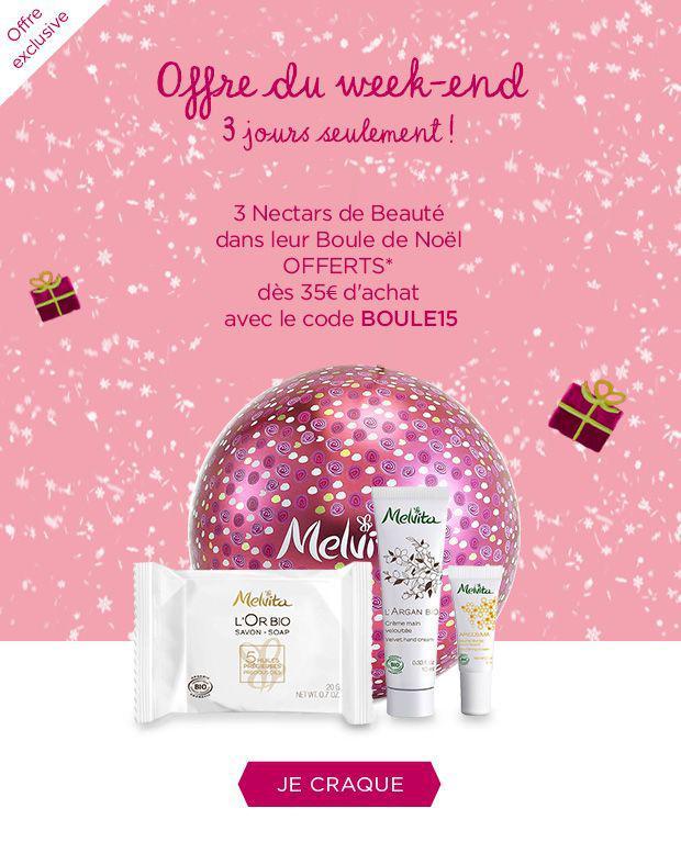 3 nectars de beauté offerts dans leur boule de Noël dès 35€ d'achat
