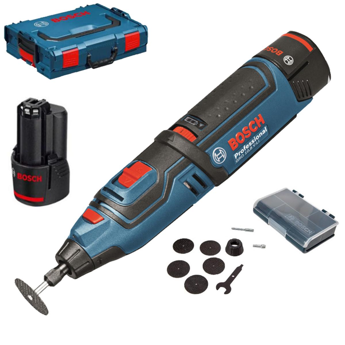 Outil multifonctions Bosch Professional GRO 10,8 V-LI/GRO 12V35 (06019C5001)  - 2 batteries li-ion 2,0 Ah,  chargeur, coffret L-Boxx