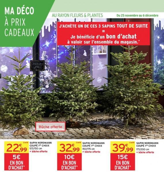Sapin de noël 125/150cm + Bon d'achat de 5€ + 1 bûche (pied pour sapin)