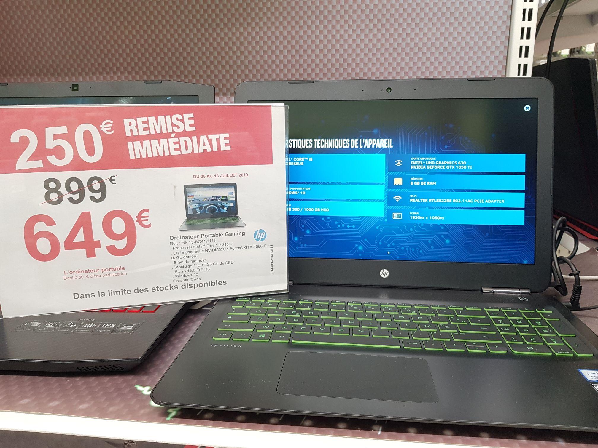 "PC Portable 15.6"" HP Pavilion 15-bc417nf  - Full HD, I5-8300H, RAM 8Go, 1To + SSD 128Go, GTX 1050 Ti 4Go, Windows 10 - National"