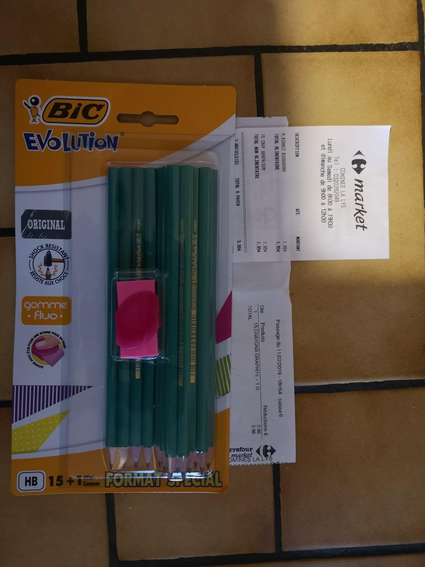 Paquet de 15 crayons graphique HB Bic Evolution + gomme Fluo (via 0.98€ sur la carte de fidélité) - Comines (59)