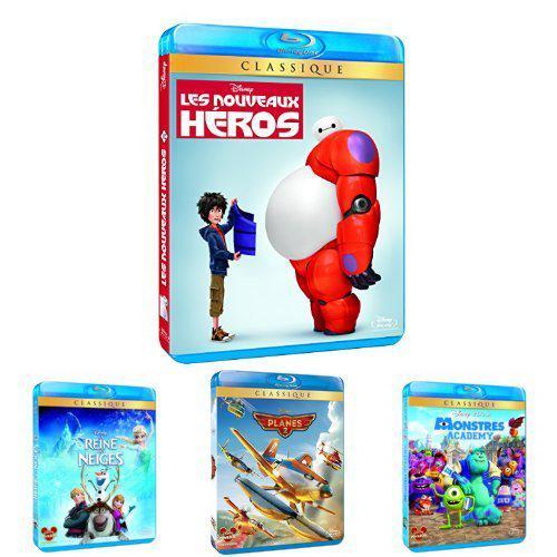 Pack Blu-Ray Disney : Les nouveaux Héros + La reine des Neiges + Planes 2 + Monstres Academy