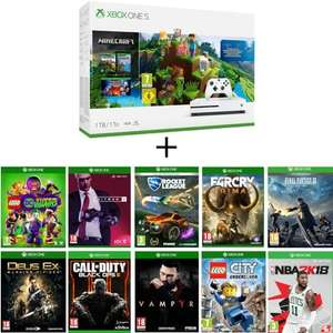 Console Xbox One S 1 To édition Minecraft Creator + 10 jeux (Hitman 2, Vampyr, Rocket League, Final Fantasy XV, Black Ops III,...)