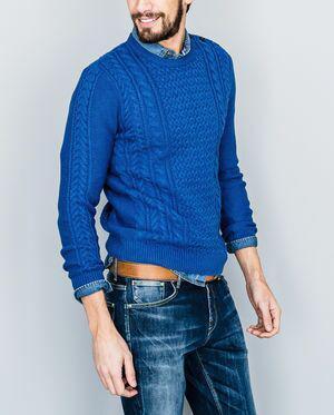 Pull homme col rond - Bleu indigo, Tailles L et XL